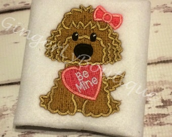 Dog Holding Heart Girl Version Valentine Shirt or Bodysuit, Girl Valentine Shirt, Dog Valentine Shirt for Girl, Valentine's Day Shirt