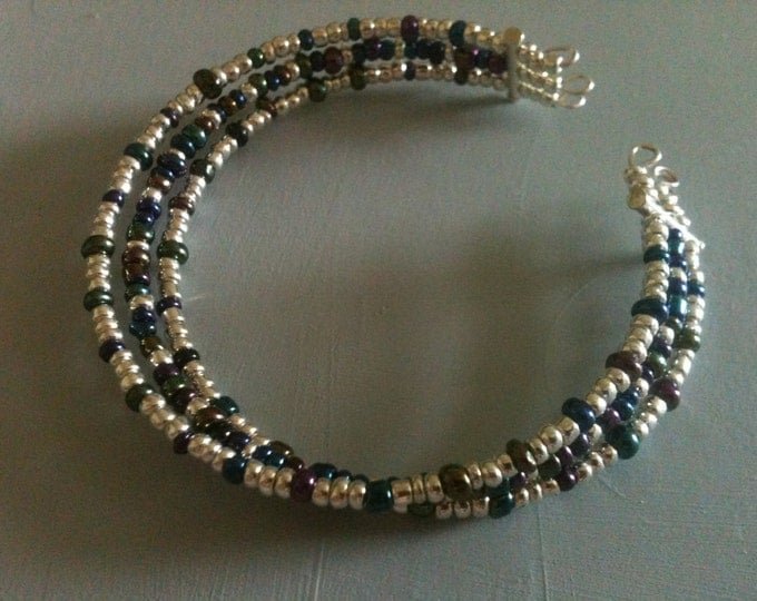 clearance! silver, blue, green, and purple glass beaded cuff bracelet