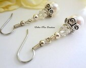 Swarovski Crystal Pearl Bridal Wedding Earrings Pearl Wedding Bridal Bridesmaid Jewelry Mother of Bride/Groom Formal Earrings Antique Silver
