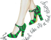 Wicked Pretty Green Shoes Gouache Watercolor Art Print PDF Instant Digital Download 8.5 x 11 and 8 x 10