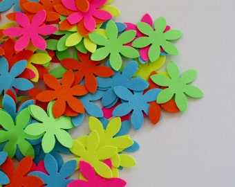 Neon Flower Confetti / Pink Yellow Orange Green Blue Confetti / Flower Table Decor / Table Scatter / Elegant Decoration / 100 Pieces