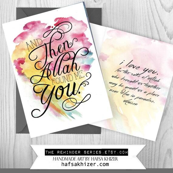 Islamic wedding card i love you by