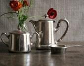 Vintage Tea Set Hepp Hotelsilber German Silver Milk/Hot Water Pot Sugar Tea Strainer