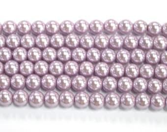 Glass Pearl Bead 8mm Mauve Colour #RB15