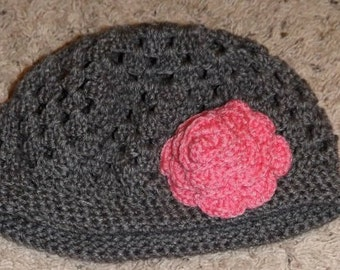 Beret style Hat with Rose