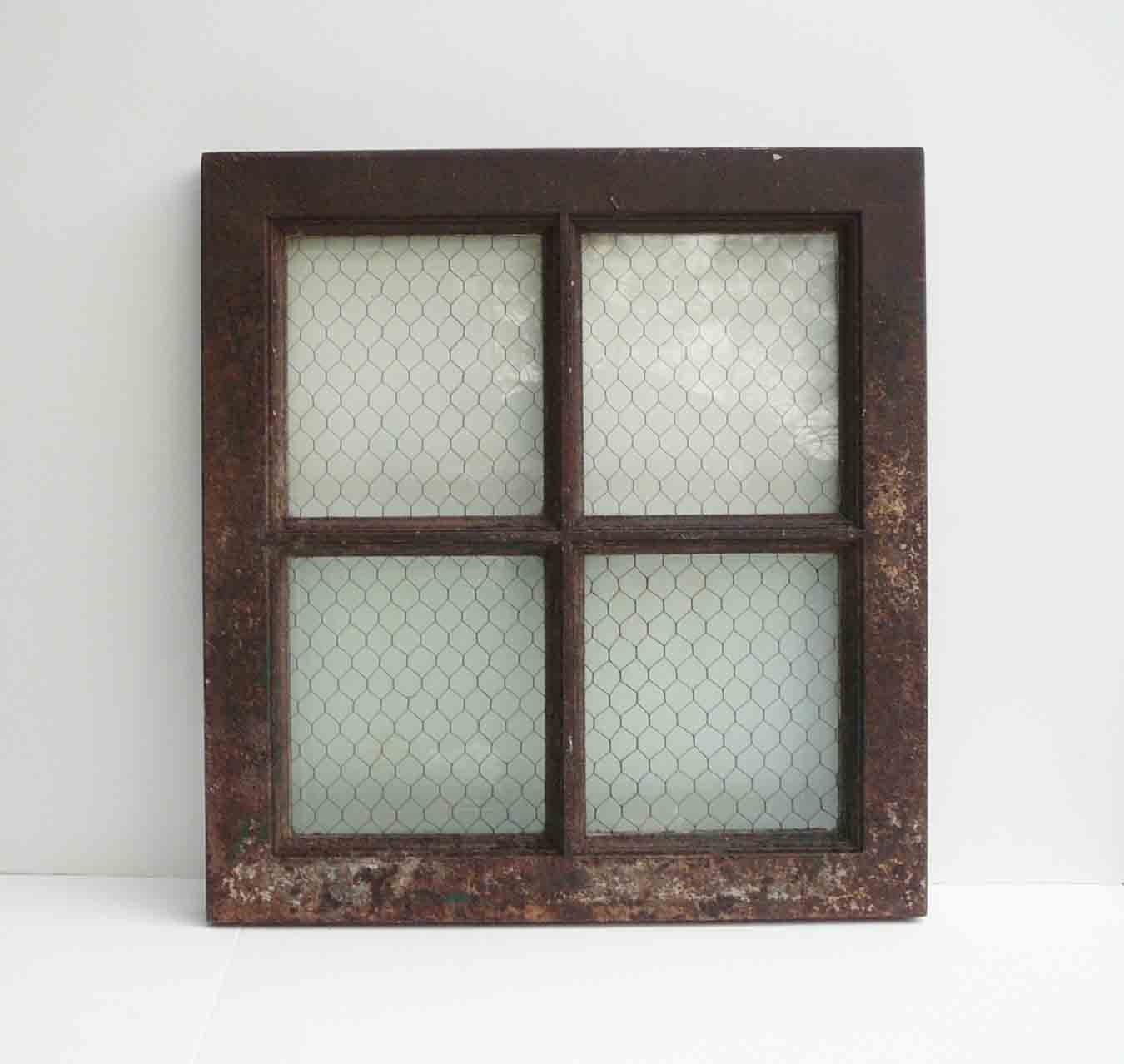 Double Rustic Windows : Vintage metal window chicken wire glass salvage rustic heavy