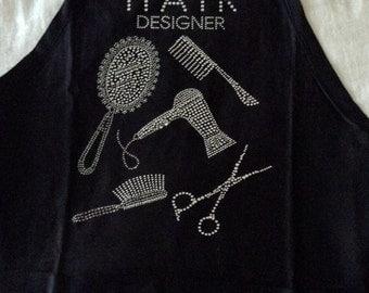 """Rhinestone embellished """"Hair"""" apron"""