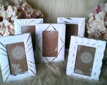 "Picture Frames, Shabby Chic Photo Frames, Table Number Frames, Wedding, Ornate, White Set of 5, 2"" x 3"" Mini Frames Made to Order"