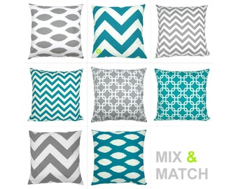 1 Cushion cover 40 x 40 cm turquoise and white ZIPPY