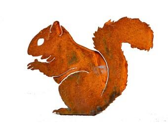 A202 Nibbling Squirrel Steel Silhouette   Rusty Animal Metal Garden Art Fence Topper by Elegant Garden Design