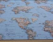 World Map fabric - Map fabric - fabric map of the world - world fabric - blue fabric - ice blue fabric - fabric map - Atlas fabric yardage