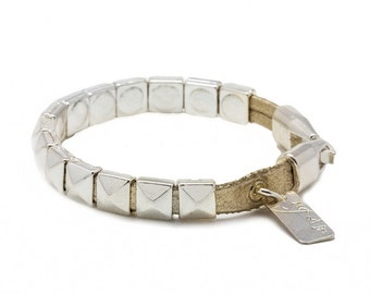Silver bracelet over leather - silver bangle bracelet