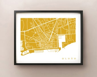 Olhão Map Print - Portugal Art Poster