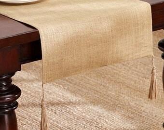 High Quality of Burlap Linen fabric with jute tassels - Burlap table runner 14'' (35cm) - All Edges have overlok hemmed