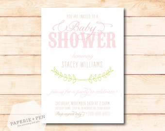 Sweet Southern Shower, Blush, Rustic Birthday or Shower Invitation, 2-3 Day Turnaround!