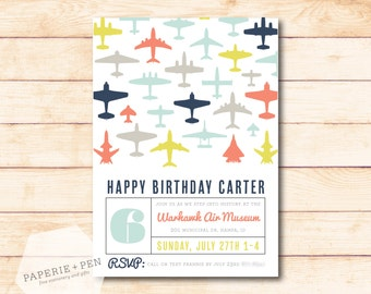 Aviator Birthday, Airplane Birthday Party Invitation, 2-3 Day Turnaround!