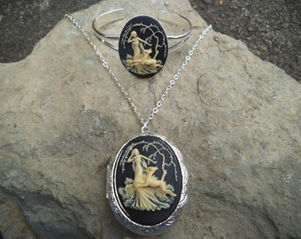 "Locket and Bracelet Set--Stunning Goddess Diana with Deer- Huntress (cream on black)--.925 plated 22"" Chain--- Great Quality"