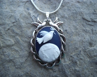 """Peace on Earth-- Dove with Twig Over Earth Cameo Pendant Necklace---Christmas  .925 plated 22"""" Chain--- Great Quality"""