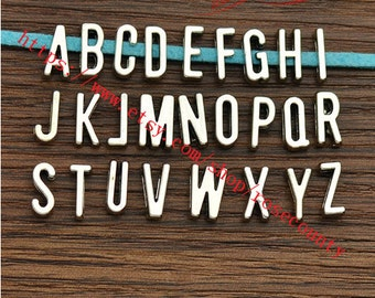 1 set(26 pieces)Antiqued silver 11x6mm alphabet Slide letters charms finding---fit 6mm width slide