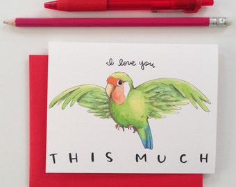 SALE I Love You This Much Love Bird Valentine Love Card
