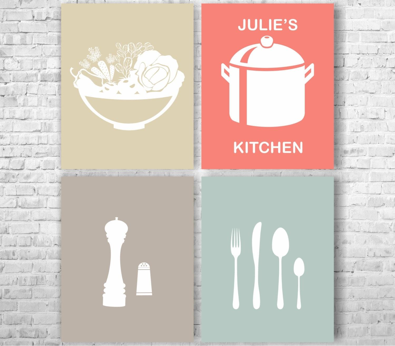 Modern Kitchen Art Set: Modern Kitchen Art Print Set Of 4 Prints 8 X 10 By