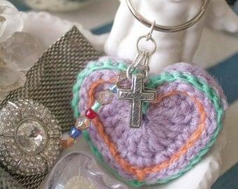 Conversation Heart Crochet Keychain, Keychain, Heart Keychain, Valentine, Crochet Accessory, Accessory