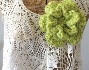 Customize Your Own: Double Layer 6 Petal Crochet Flower, Crochet Accessory, Crochet Brooch, Crochet Flower, Accessory, Flower, Crochet