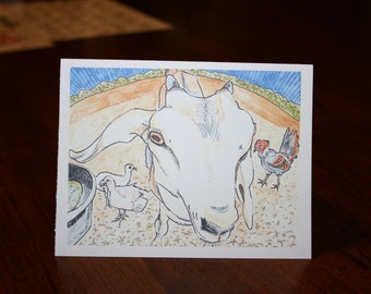 Goat Among Friends blank note card or fine art print