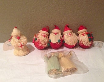 Vintage Wheatstraw Handcrafted Ornaments Santa Clause (5) & Angels (2)