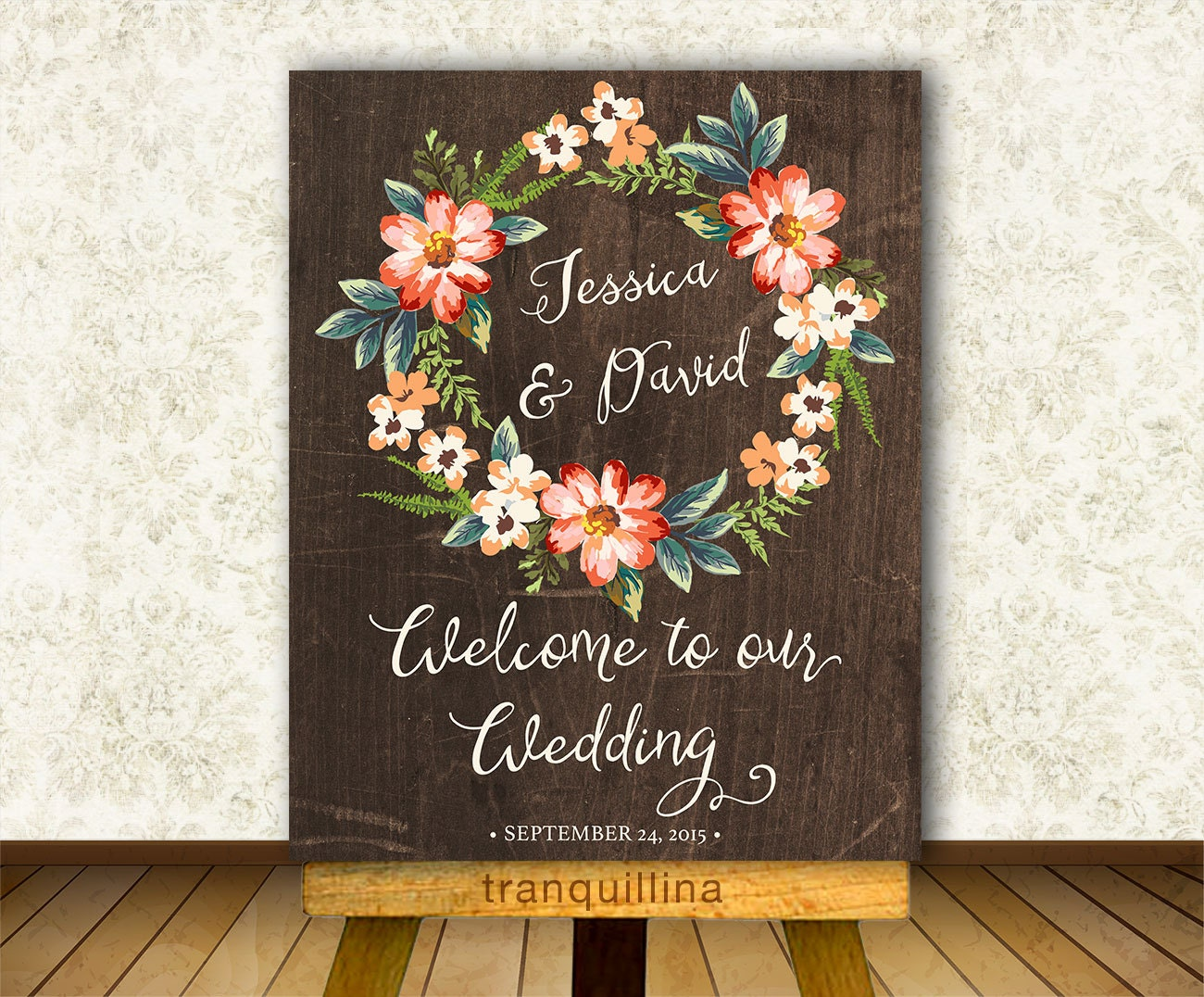 Wedding Welcome Sign Printable Personalized Rustic Wedding