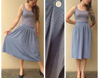 Vintage // BABY BLUE white polka dot skirt // pockets either side of the waist // size medium //