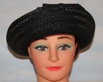 NEVER WORN! Deadstock! 1950s 60s Jet Ink Black Taffeta Straw Eaton's Fashions Brimmed Hat