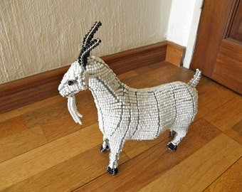 African Beaded Wire Animal  - GOAT SMALL - White