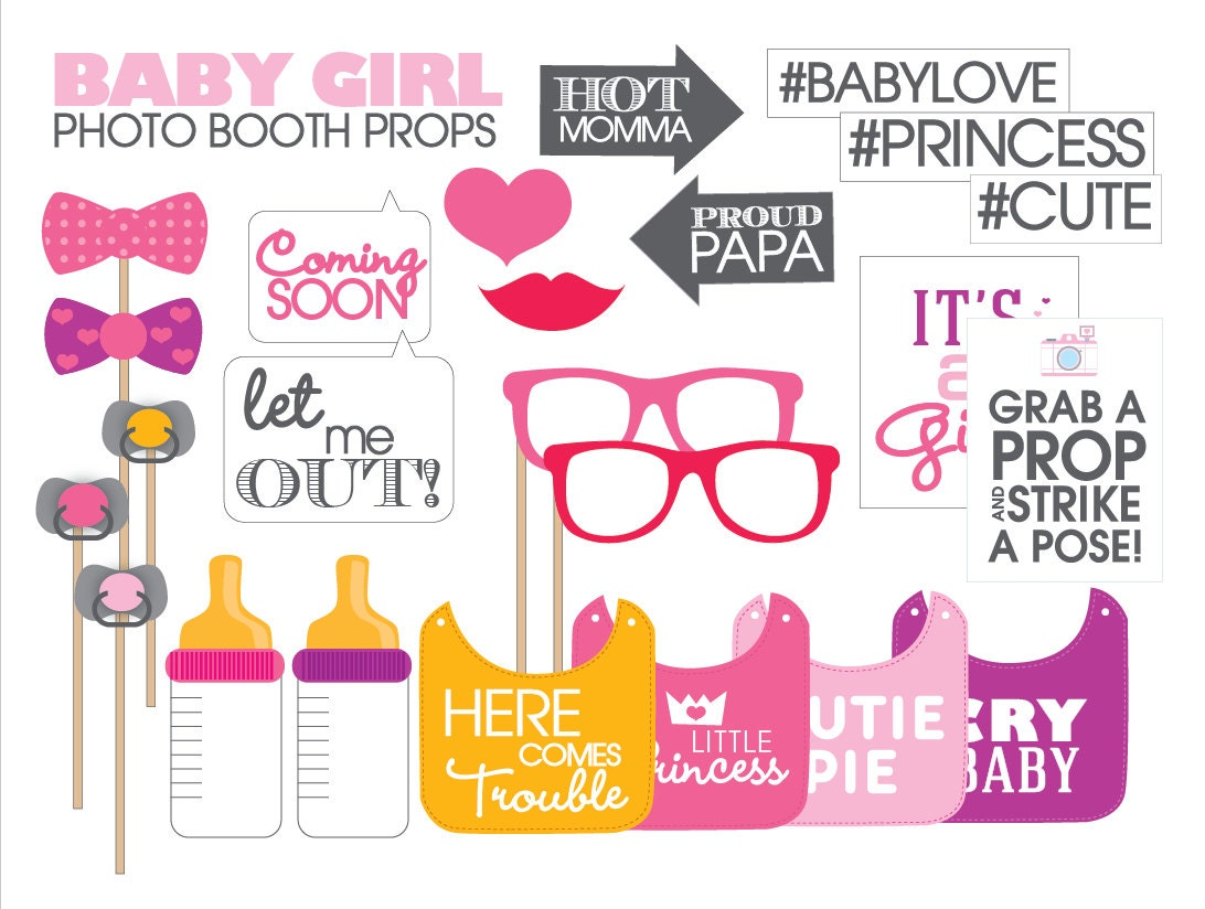 baby shower photo booth props printable pdf girl instant