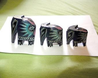 three wood elephant figurines,handmade vintage.