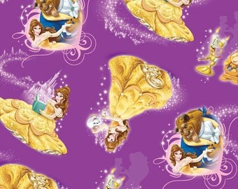 IN STOCK, Per Yard, Disney's Belle Character Toss Fabric