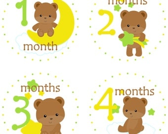Baby Bear Moon and Stars Monthly Milestone Stickers, Yellow and Green, Monthly Baby Stickers, Bodysuit Stickers, Photo Stickers, New Baby