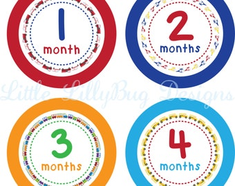 ON SALE Monthly Baby Stickers Baby Boy Stickers Baby Month Milestone Stickers Baby Month Stickers Month to Month Bodysuit Custom Fire Truck