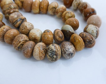 """Picture Jasper Pebble Nugget Beads 14mm 15.5"""" Strand (50 Beads), Craft Supplies, Beads, UK Seller (GB1104)"""