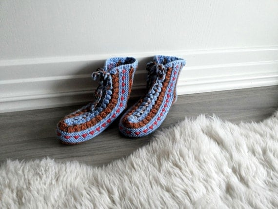 Hand knit booties,
