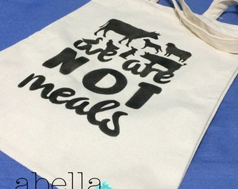 Vegan Tote Bag - Animals are not Meal - Canvas Bag - Vegan Bag