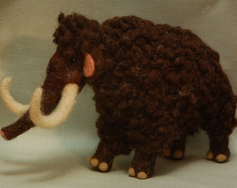 Needle Felted Wooly Mammoth Miniature Prehistoric Animal