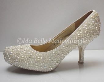 Hand Embellished Pearl Wedding Shoe's