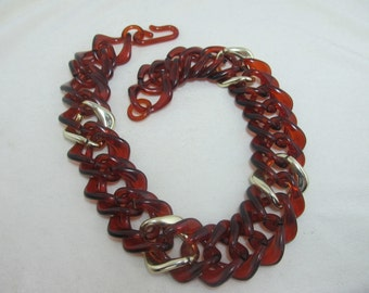 Chunky Brown Plastic Link Necklace Item W-#9
