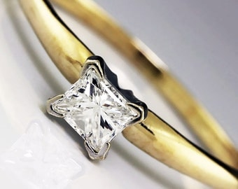 0.45 Carat Rectangular Princess Diamond Solitaire Engagement Ring Two Tone Gold