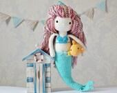 Crochet Amigurumi Mermaid PATTERN ONLY PDF Instant Download Mermaid Doll Cute Childrens Gift Includes Fish Pattern