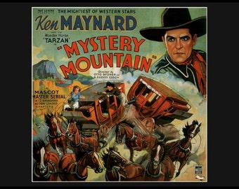 8x10 Cotton Canvas Print, Mystery Mountain, Ken Maynard, Cowboy Western, 1930s Movie