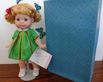 "Now marked 10% off. Madame Alexander MUFFIN doll.   Blonde hair and blue eyes.  #1255, NRFB.  She is 12"" TALL"