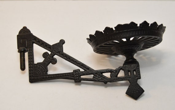 Wall Mount Oil Lamp Holders : Vintage Cast Iron Oil Lamp Holder Wall Mount Sconce