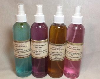 Messy Jessie's  8 oz Body Spray homemade organic vegan Choose Scent
